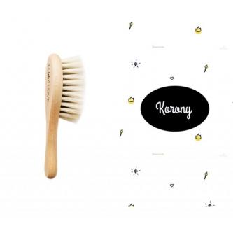 Miękka szczotka z koziego włosia z myjką muślinową+korony