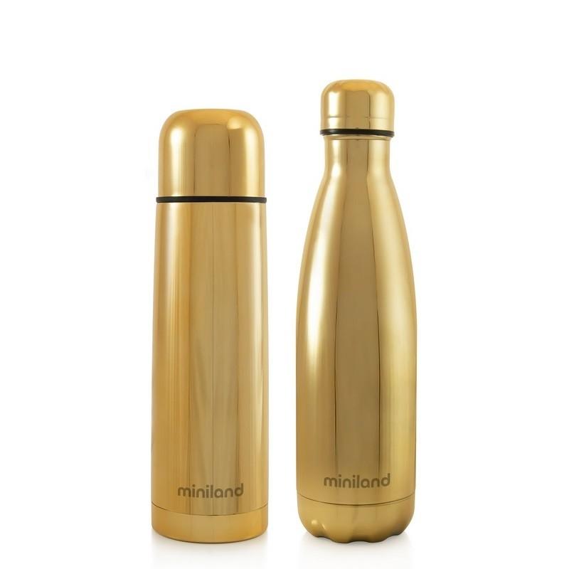 Miniland Termos dla Dziecka + Butelka dla Rodzica Deluxe 500 ml Złote