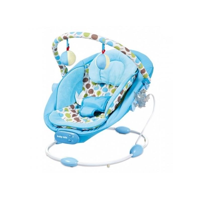Baby Mix Leżaczek + Wibracje + Dźwięk Niebieski