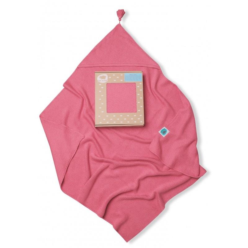 Pink No More Bambudowy Kocyk Tkany z Kapturkiem Różowy