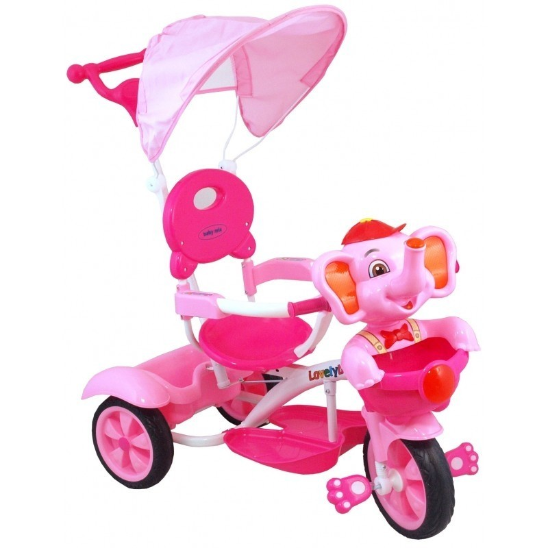 Rowerek 3w1 Trójkołowy (dźwięk) do 25 kg Słoń Różowy