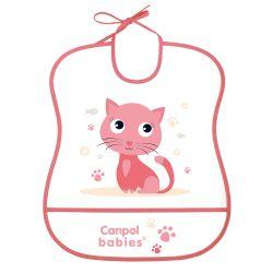 Canpol Babies Śliniak Zmywalny Miękki Cute Animals Kotek