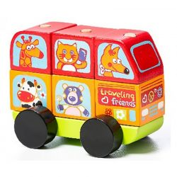Cubika Drewniany Mini Bus Wesołe Zwierzątka