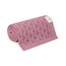 Memi Ażurowy Kocyk Bambusowy 80x100 Vintage Pink