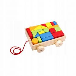 Smily Play Wózek z klockami Drewniany