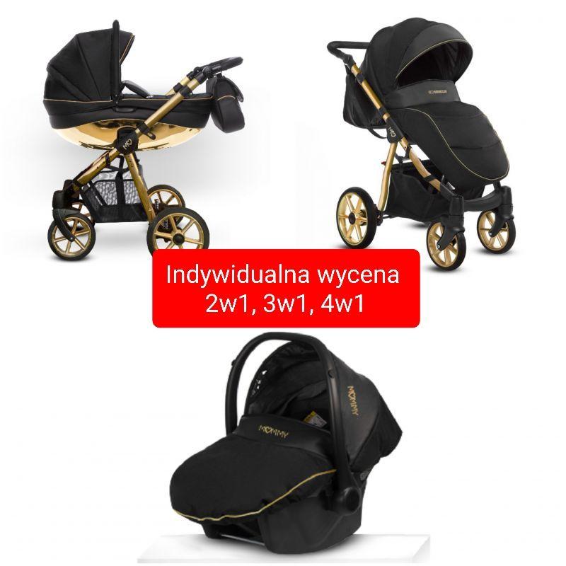 BabyActive Mommy Glossy Wózek Głęboko Spacerowy 2w1 Opcja Fotelik 3w1 Baza 4w1 Gold
