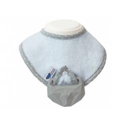 Lullalove śliniak + kauczukowy gryzak supeRRO baby hevea błękitny